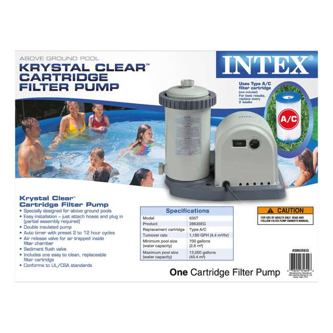 28635EG Intex 1500 Gph Easy Set Pool Filter tridge Pump with Timer & Gfci (Open Box) (2 Pack)