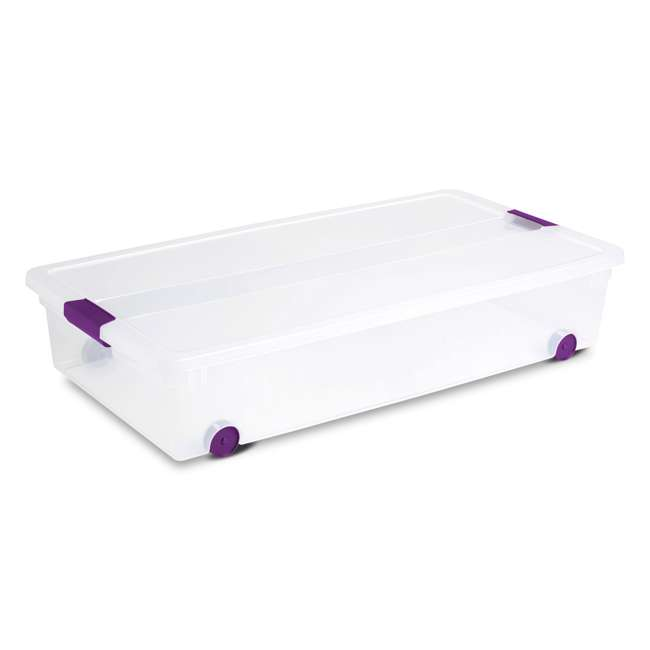 12 x 17611704-U-A Sterilite 60 Quart ClearView Latch Lid Wheeled Underbed Box (Open Box) (12 Pack)