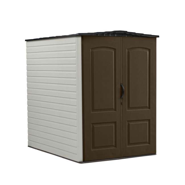 1967674 + 2032730 + 2024654 + 2024651 + 2024656  Rubbermaid 5x6 Ft Outdoor Garden Tool Vertical Storage Shed & Shelf Accessories 1