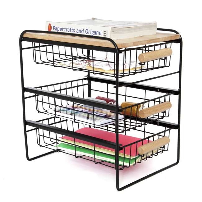 RA3TS-WB-BL Origami Kitchen Countertop 3-Drawer Wood Top Organizer, Black 5