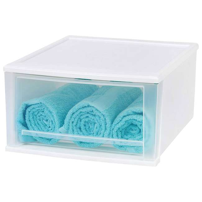 129957-2PK IRIS Medium 32 Qt Stackable Pull Out Clear Front Plastic Drawer, White (2 Pack) 4