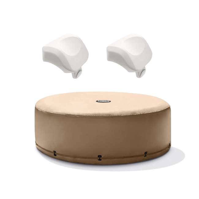 28523E + 2 x 28505E Intex PureSpa Energy Efficient Hot Tub Cover & Cushioned Foam Headrest (2 Pack)