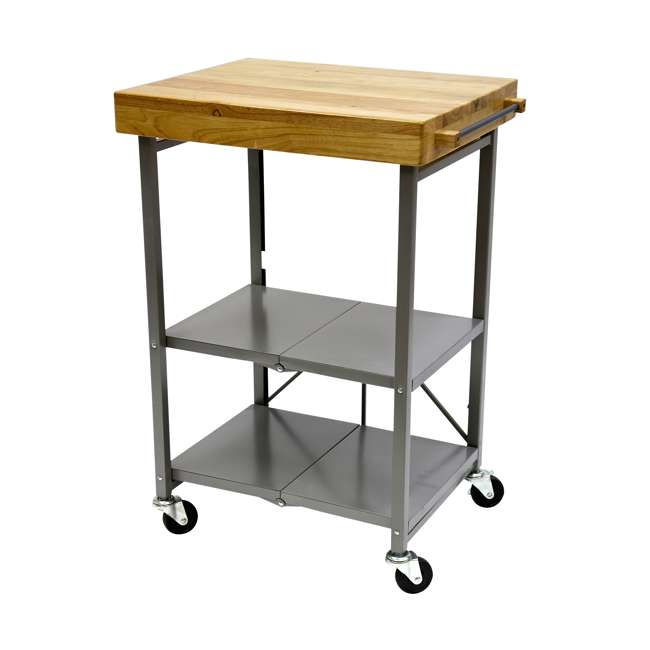 RBT-02 Origami Foldable Wheeled Kitchen Island Cart, Silver
