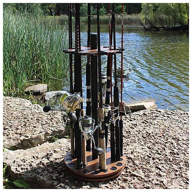 38-3032 Rush Creek Creations 24 Fishing Rod Spinning Round Storage Rack, Dark Walnut 1