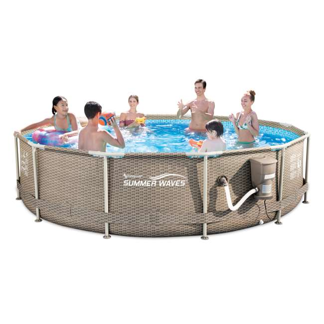 P20012335167 Summer Waves 12 foot x 30 inch Active Swimming Pool with Weave Wicker Exterior 1