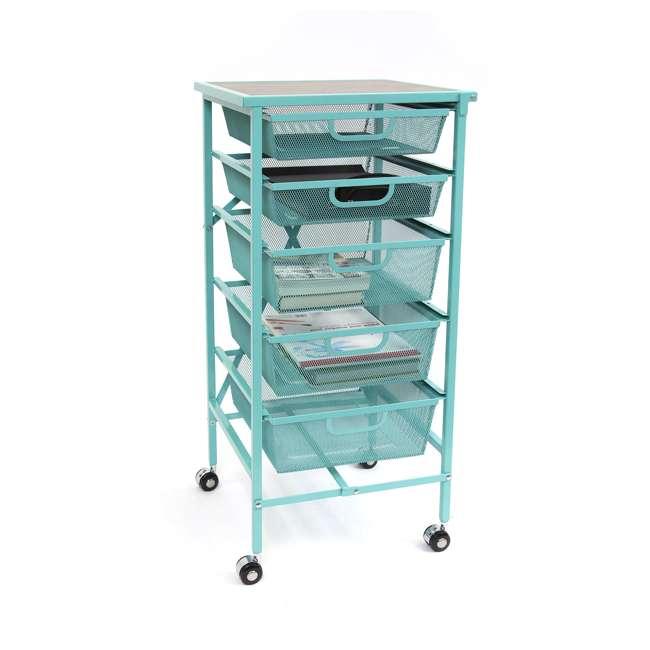 DFS-05-TURQ Origami Wheeled Foldable 5-Drawer Storage Cart, Turquoise  1
