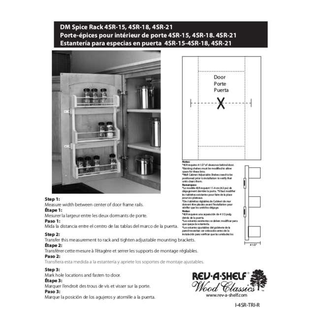 4SR-21 Rev-A-Shelf 21 Inch Cabinet Door Mount Wood 3 Shelf Spice Rack with Hardware 6