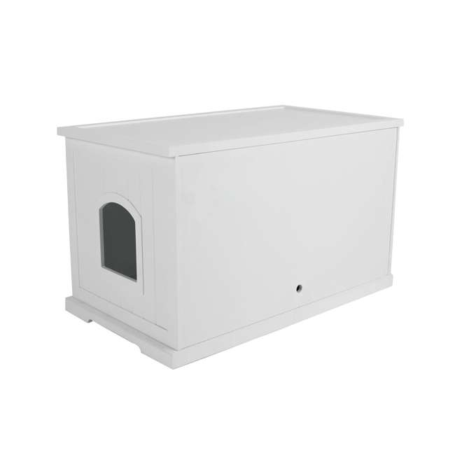 MPS010-U-D Merry Products Bench with Enclosed Cat Litter Washroom Box, White (Damaged)