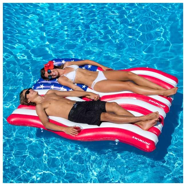 4 x SL-90346-U-A Swimline American Flag Inflatable Swimming Pool Mattress Set (Open Box) (4 Pack) 4