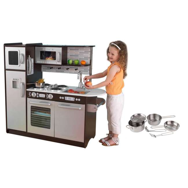 KidKraft Uptown Espresso Kitchen with Metal Cookware Set ...