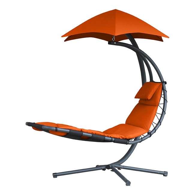 DREAM-OZ Vivere The Original Dream Lounger Steel Backyard Patio Deck Chair, Orange Zest