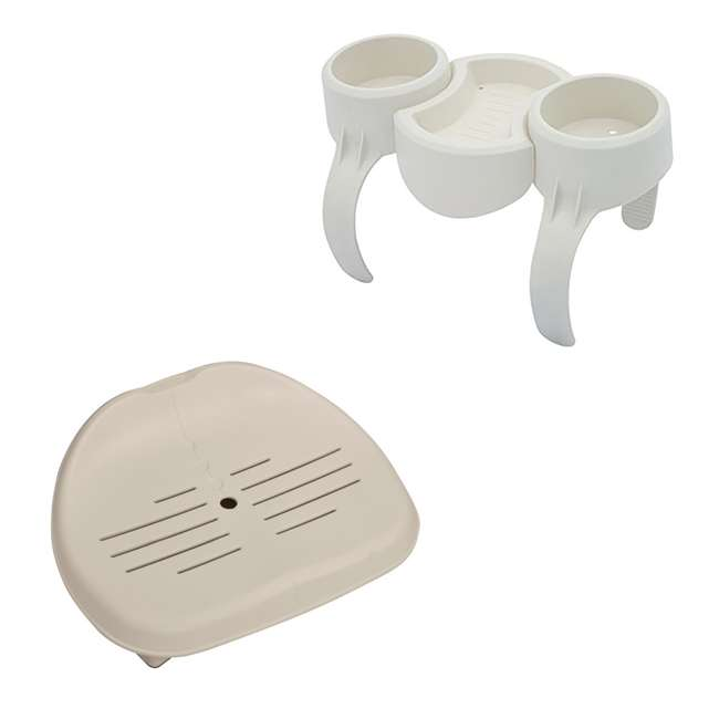 58416-BW + 28502E Bestway Plastic SaluSpa Drinks Holder and Snack Tray & Removable Hot Tub Seat