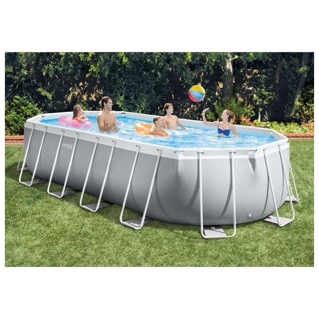 Intex 20 39 x 10 39 x 48 prism frame oval family swimming for Intex pool handler