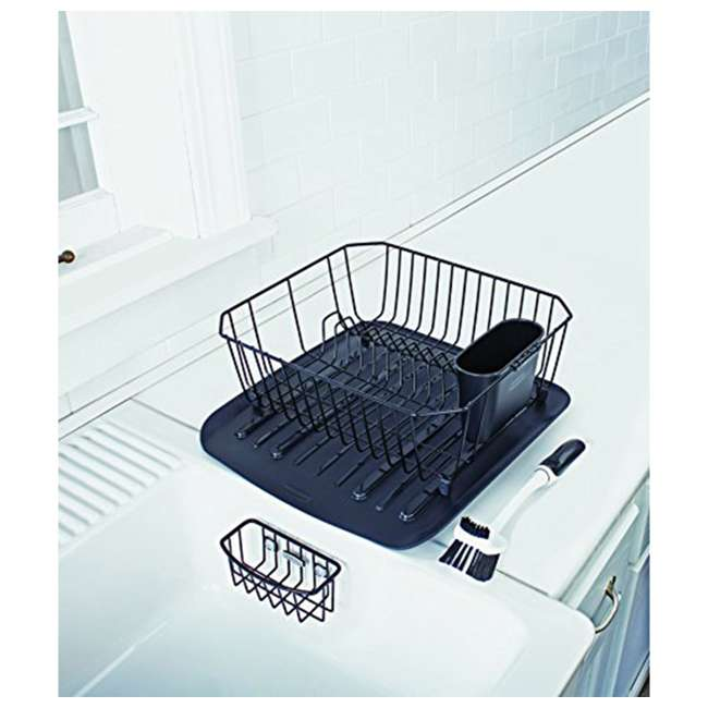FG1F91MABLA Rubbermaid 4 Piece Antimicrobial Counter Top Sinkware Wire Drainer Set, Black 1