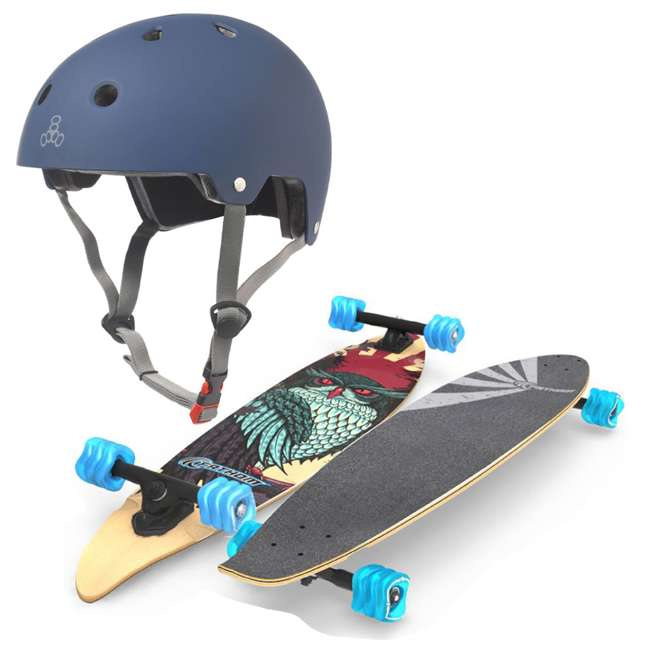 "T8-3022 + 08057-SHARK Triple 8 Dual Certified Skate & Bike Helmet S/M, Blue + Fathom Shark Wheel Pintail 39"" Longboard"