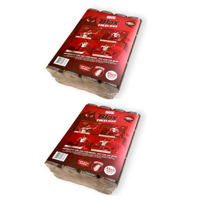 JD-BLOX Jealous Devil Blox Hickory Natural Hardwood Fire Wood Pack, 12 Logs (2 Pack)