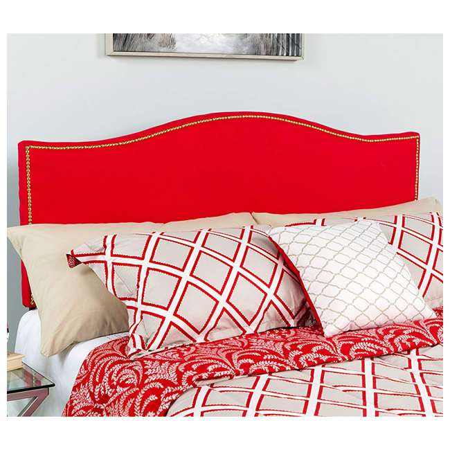 HG-HB1707-F-R-GG Flash Furniture Lexington Upholstered Full Size Headboard with Trim & Red Fabric 2