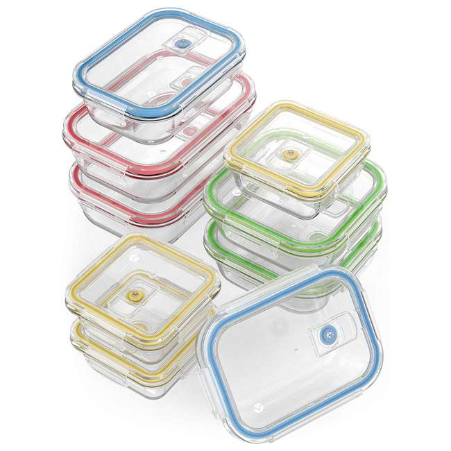 VRM020059N Vremi 18-Piece Kitchen Meal Prep Glass Food Storage Containers with Locking Lids