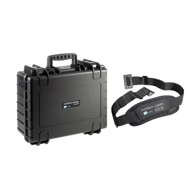 5000/B/SI + CS/3000 B&W International Hard Plastic Outdoor Case w/ SI Insert & Shoulder Carry Strap