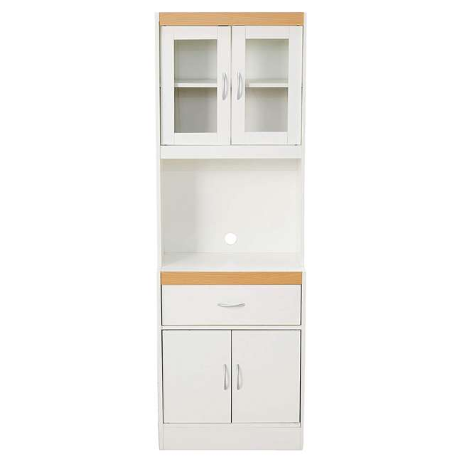 HIK96 WHITE Hodedah Freestanding Kitchen Storage Cabinet w/ Open Space for Microwave, White 1