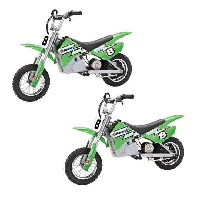 15128030 Razor MX400 Dirt Rocket Electric Motorcycle, Green (2 Pack)