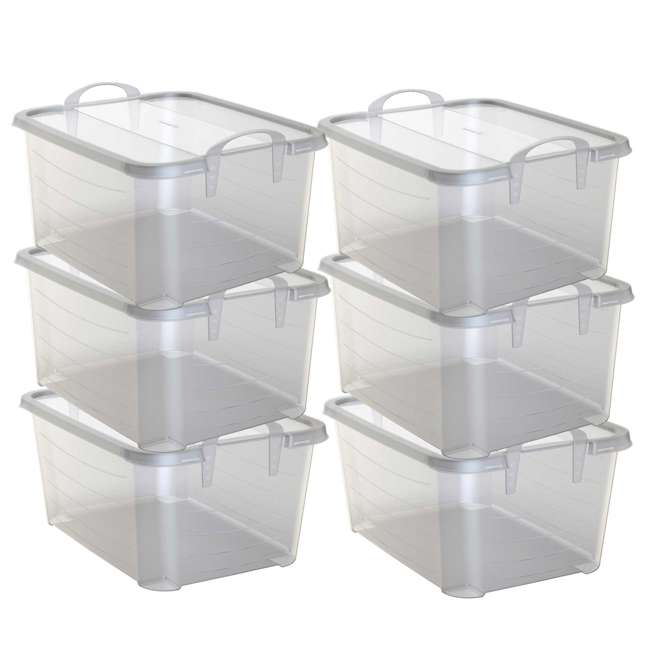 6 x CS-50-U-A Life Story Clear Stackable Closet & Storage Box 55 Quart Containers, (6 Pack)