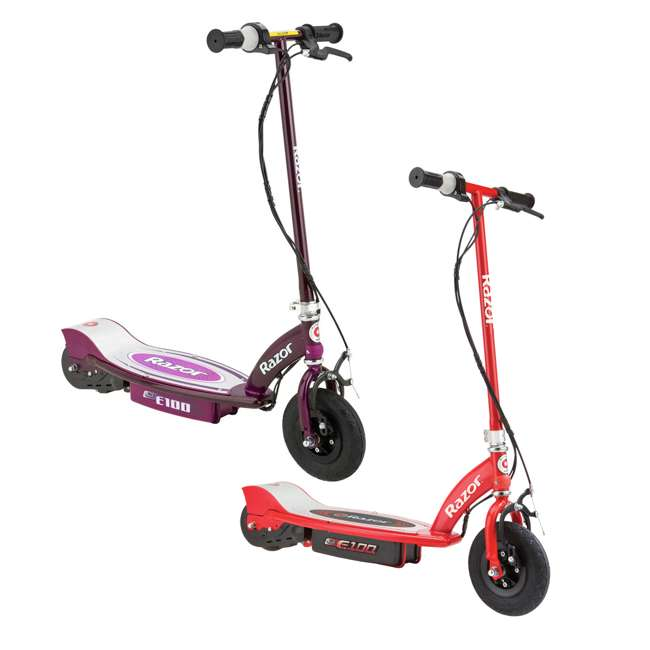 13111250 + 13111260 Razor E100 Kids 24 Volt Electric Powered Ride On Scooter, Red & Purple (2 Pack)