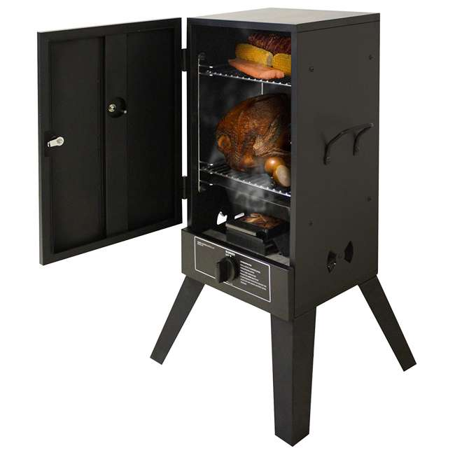 26142G Smoke Hollow 26142G 26-Inch Freestanding Propane Gas Outdoor Smoker, Black 1