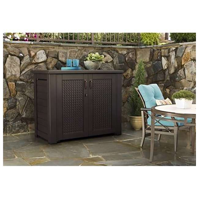 1889849 Rubbermaid Resin Basket Weaved Patio Chic Outdoor Storage Cabinet, Dark Teak 1