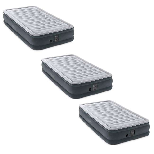 3 x 67765EP Intex Comfort Plush Dura Beam Plus Series Mid Rise Airbed w/ Pump, Twin (3 Pack)