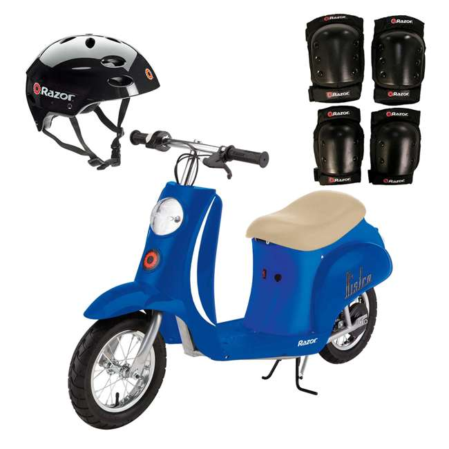 15130641 + 97778 + 96785 Razor Pocket Mod Electric Scooter + Youth Helmet + Elbow & Knee Pads