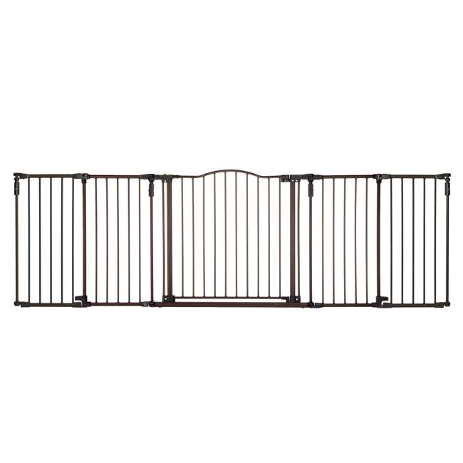 4934 + 2 x 4938 North States Deluxe Decor Baby and Pet Metal Gate + 2 15-Inch Extensions