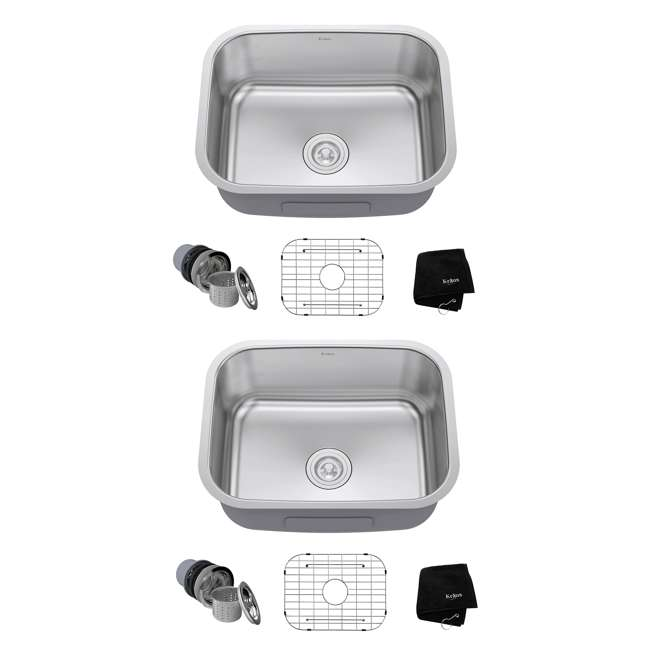 KBU12 Kraus 23-Inch Rounded Undermount Stainless Steel Kitchen Sink (2 Pack)