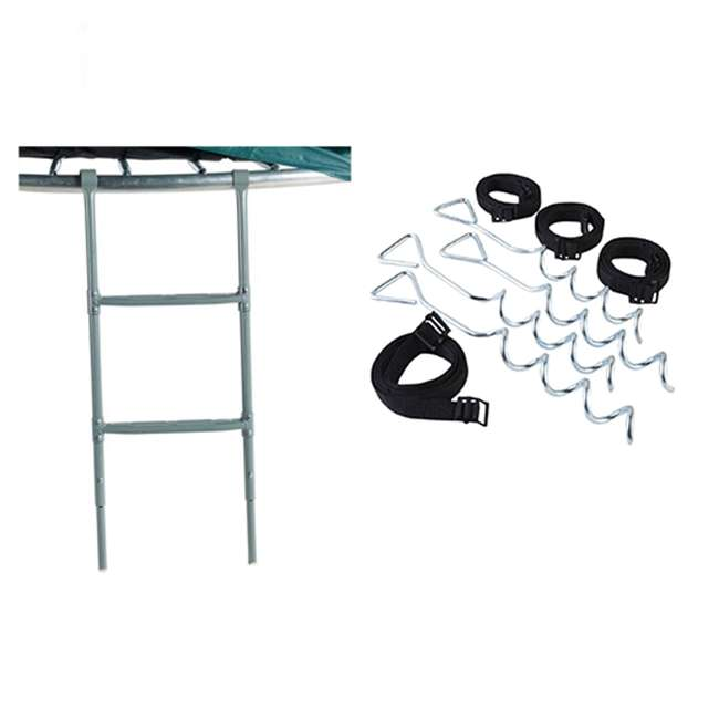 ACC-LADFS + ACC-AK JumpKing Two Step Trampoline Ladder and Anchor Tie Down Kit