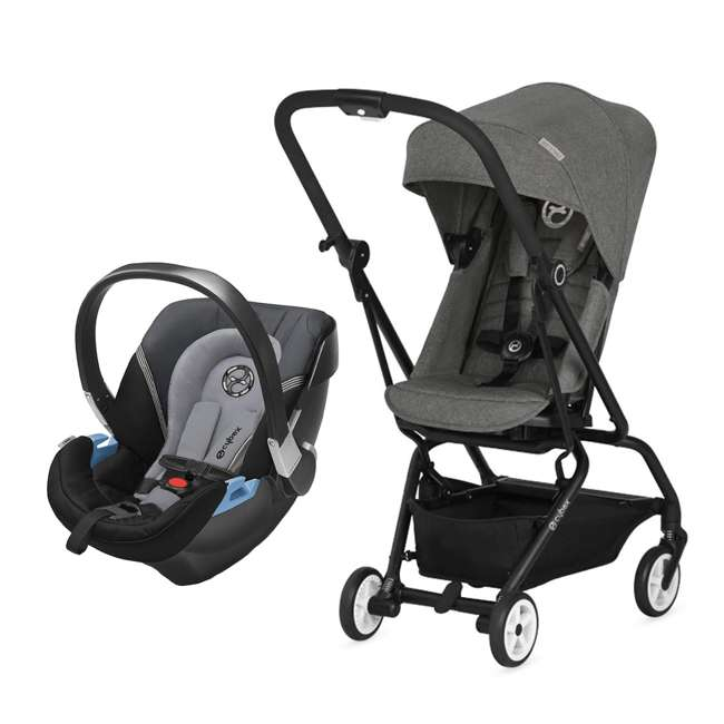 518001265 + 515103015 Cybex Eezy S Twist Stroller, Manhattan Grey & Aton 2  Car Seat