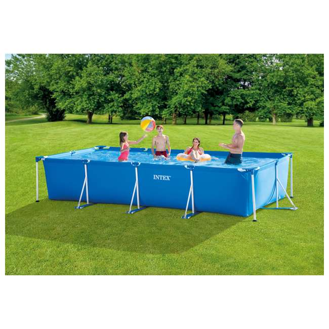 28273EH Intex 14.75ft x 7.3ft x 33In Rectangular Frame Above Ground Swimming Pool, Blue 1