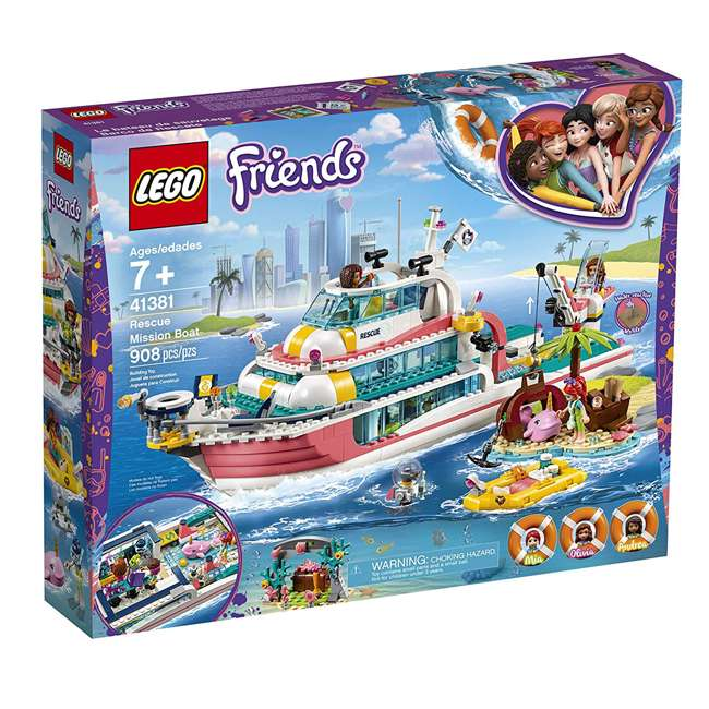 6251666 LEGO Friends Rescue Mission Boat 908 Piece Block Building Kit with 5 Minifigures 3