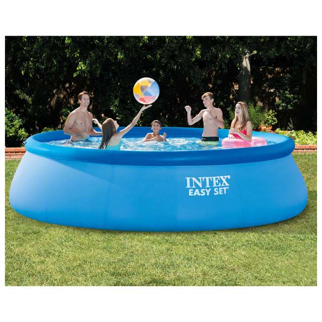 Intex 15 39 x 42 inflatable easy set swimming pool with ladder covers and pump 26165eh Inflatable quick set swimming pool