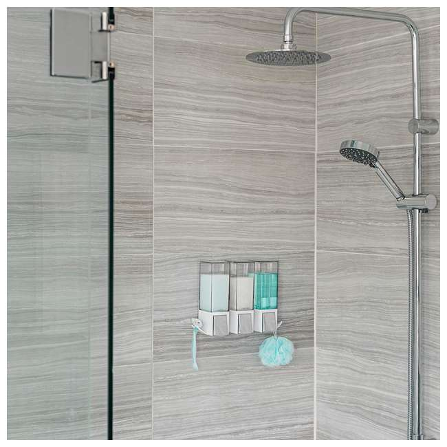 77354 Better Living CLEVER Luxury Rust Proof Shower/Bath Liquid Wall Dispenser with Hooks, White/Chrome 4