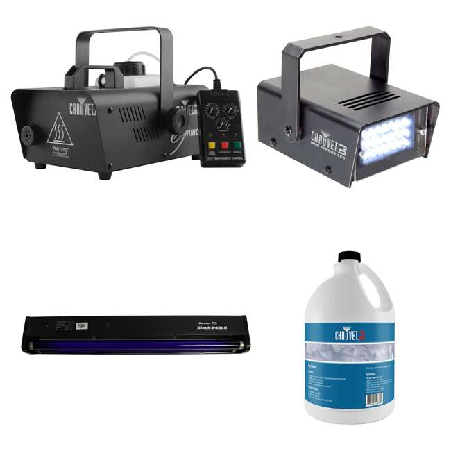 H1200 + FJU + MINISTROBE-LED + BLACK-24BLB CHAUVET DJ Hurricane Fog Machine + Fog Juice + Mini Strobe Light + Black Light