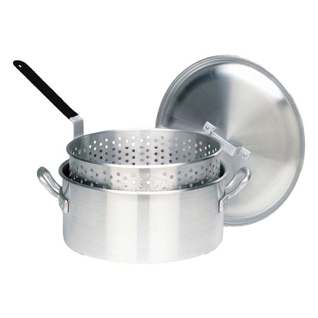 1350 Bayou Classic 14-Quart Aluminum Fry Pot and Basket, Silver (2 Pack) 1