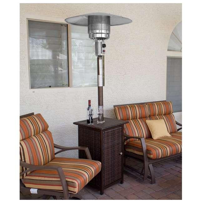 HLDS01-WHSQ Hiland HLDS01-WHSQ Quartz Glass Tube 48,000 BTU Wicker Patio Heater Table, Brown 2