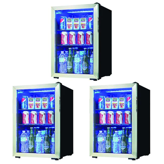 3 x DBC026A1BSSDB Danby Free Standing Beverage Center Mini Fridge w/ Glass Door (3 Pack)