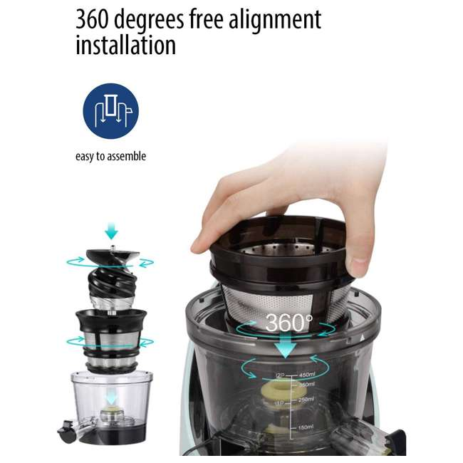MJ-WJS2005PW Comfee' BPA Free Masticating Juicer Extractor with Ice Cream Maker, Mint Green 8