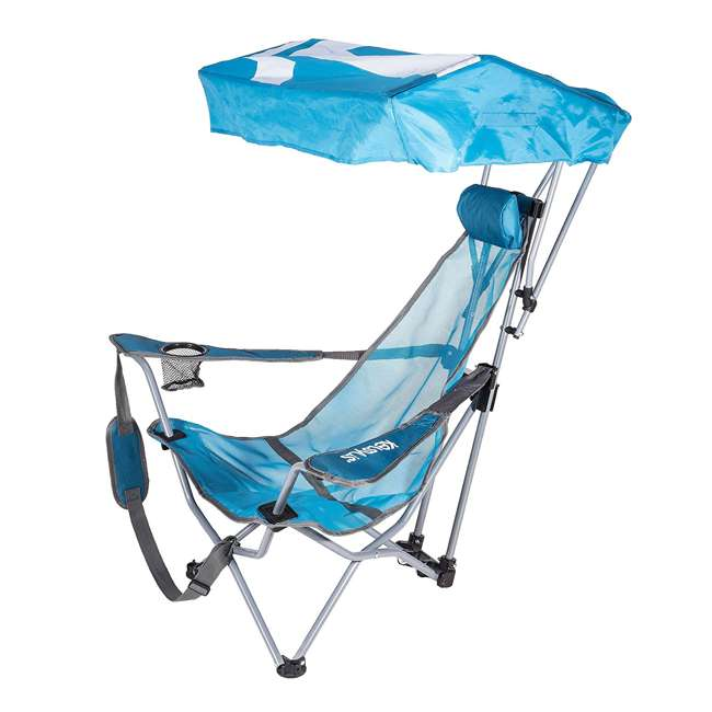 80163-SW Kelsyus Backpack Beach Folding Lawn Chair with Canopy, Teal (2 Pack) 1