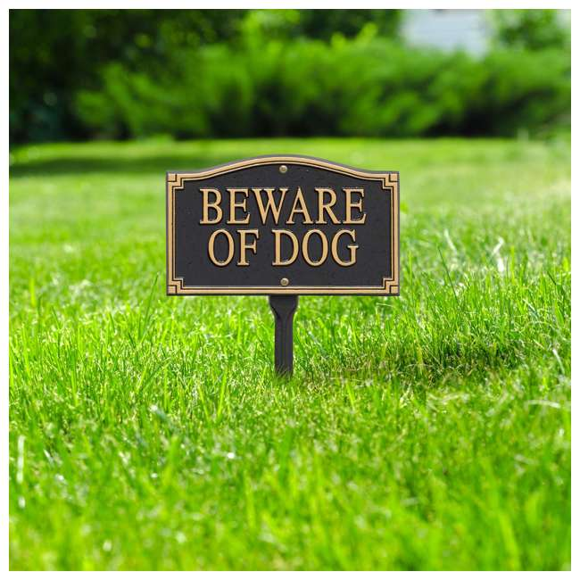 01421 Whitehall 01421 Outdoor Metal Beware of Dog Warning Yard Lawn Sign with Stake 1