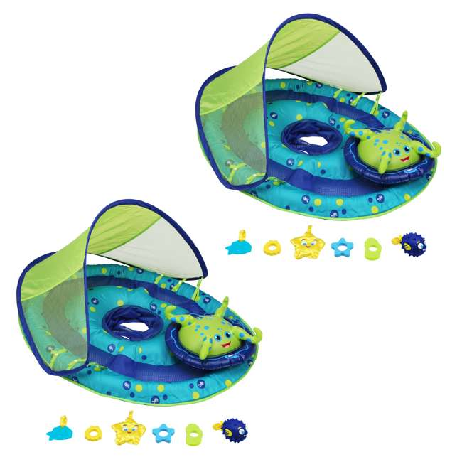 11601 SwimWays Baby Spring Float Activity Center with Sun Canopy | 11601 (2 Pack)