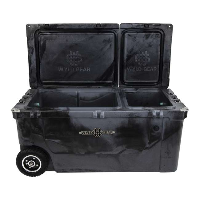 HC75-17SB WYLD 75 Quart Pioneer Dual Compartment Insulated Cooler w/ Wheels, Black/Silver 4