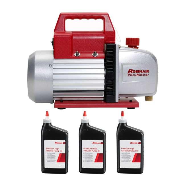 ROB-15500 + 3 x ROB-13203-1PK Robinair Heavy Duty 1/3 Horsepower 2 Stage Vacuum Pump with Pump Oil (3 Quarts)