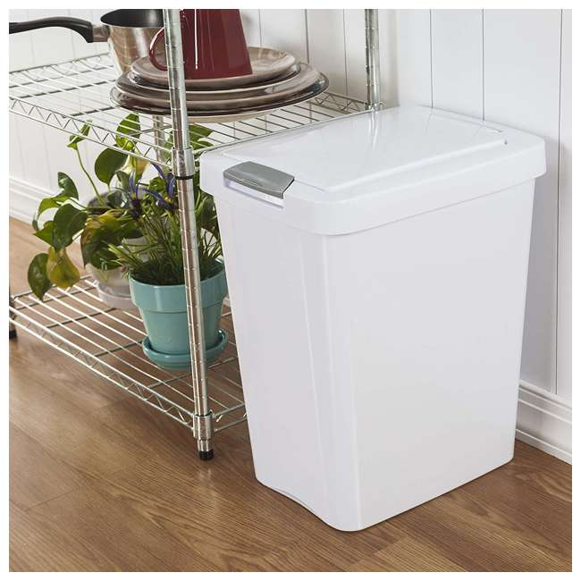 4 x 10438004 Sterilite 7.5 Gallon TouchTop Wastebasket with Titanium Latch, White (4 Pack) 4